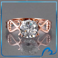 Clear Heart cubic zircon rings rose gold plated charm rings anniversary/party gift for women/Bride wedding jewelry Anillos