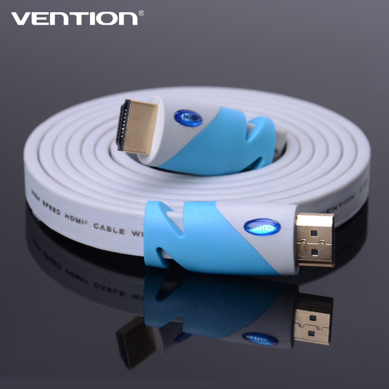 Gold Plated Plug Flat HDMI Cable Blue 1.4V 1080P 3D For HDTV computer & tablets ps4 android tv cable1.5M/5FT vention(China (Mainland))