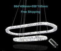 Free shipping Modern Crystal Chandelier  LED Pendant  lamp 864*408mm+558*185mm for living room bedroom kitchen fast shipment