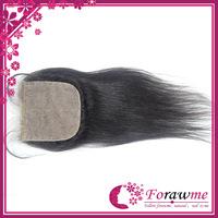 Forawme free middle side 3 ways part  silk closure straight  brazilian silk base closures human remy virgin hair 4*4 inch