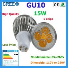 Factory Sale 1pcs LED Bulb GU10 15w 5*3W Warm White Cold White 85V~265V 110V 220V Dimmable LED Light LED Spotlight Lamps Bulbs(China (Mainland))