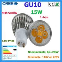 Factory Sale 1pcs LED Bulb GU10 15w 5*3W Warm White Cold White 85V~265V 110V 220V Dimmable LED Light LED Spotlight Lamps  Bulbs
