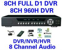 CCTV 8CH Full D1 H.264 DVR Standalone 960H DVR SDVR/HVR/NVR Security System 1080P HDMI Output DVR PTZ support + Free Shipment