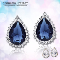 Neoglory Zircon Czech Rhinestone Imitated Platinum Plated Stud Earrings for Women Wedding Fashion Jewelry Water Drop Designer