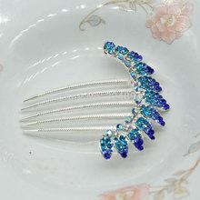 8 5X8cm Fashion Luxury Metal Silver Crest Crown Shpaed Rhinestone Wedding Hair Comb Bridal Comb For