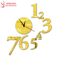 HOT 8pieces/set mirorr gold,silver,black wall art clock 44CM*51CM Home decoration DIY crystal children's wall art watch decor