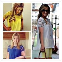 blouse new 2014 women summer 2014 shirts fashion colourful lace summer OL chiffon lace patchwork crochet plus size