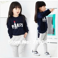 newest spring lot new 2014 girls clothing sets children t shirts and pants long sleeve baby clothes sets with gift