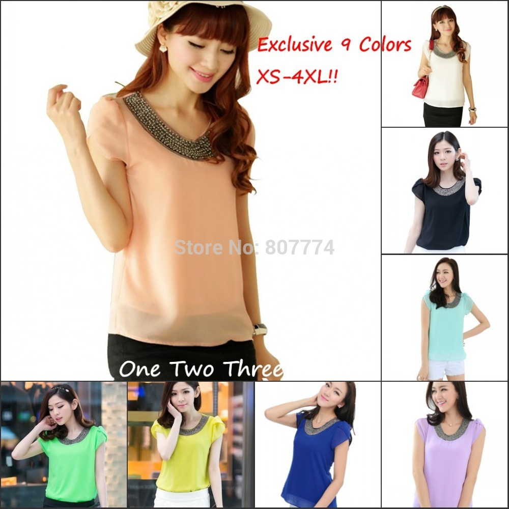 Exclusive 9 Color XS-4XL 2015 New Women Loose Big size chiffon casual Blouse/Beading O-neck,Pullover Blusas Costume shirt#1006(China (Mainland))