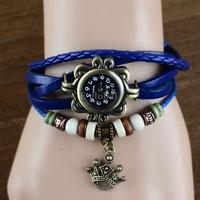 10pcs/Lot Wholesale 5 Colors Quartz Weave Wrap Leather Women Wristwatches Bracelet Dress Watch Statue of Liberty's Crown 19