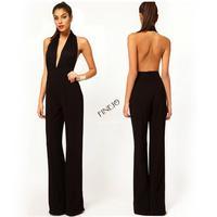 Drop Shipping 2014 New Sexy Women Elegant Lace Halter Deep V Neck Hollow Backless Jumpsuit Romper Party Dresses Black M-XL 19044