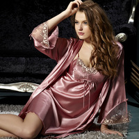 spring 2014 women embroidered sleep lounge sexy nightgowns sleepshirts pajama sets robe dress silk sleepwear 2 piece plus size