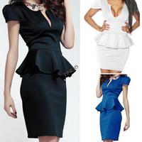 Hollow-out Chest Cutout Peplum Dress Novelty women ladies wear New sexy bandage thickening Dress 19757