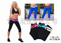 2014 New Yoga Sport  Cotton  V-Waist Strenched Women's Fashion Capri Pants Fitness Gym Short Pants 4 Colors 2 sizes 2pcs/lot