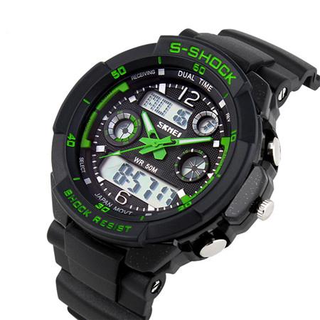 watches men digital watch 2 time zone quartz Chronograph jelly silicone swim 30M Waterproof led men wristwatches dropship(China (Mainland))