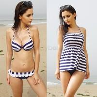 New 2014 Summer Fashion Cross Stripe Bikini Multiple Wear Sexy Bikini Dress Swimsuit 3-Piece Swimsuit Beach Dress SV000503 A03