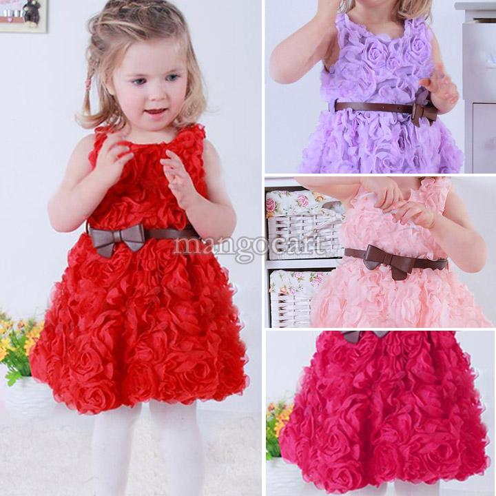 Retail 2014 new sleeveless Waist Rose Dress Girls Toddler 3D Flower Tutu Layered Princess Party Bow Kids Formal Dress 20072 #2(China (Mainland))