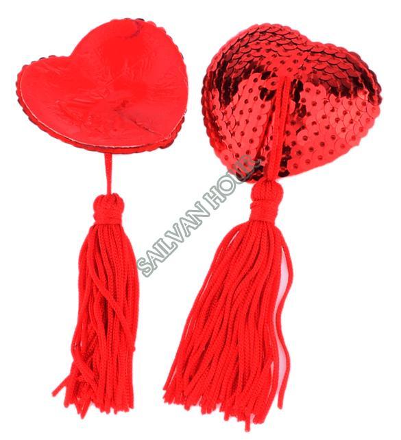 Hot Sales Sexy Self Adhesive Sequin Tassel Cover Heart Shape Bra Nipple Cover Pasties Breast Petals Free Shiping 20125 b015(China (Mainland))