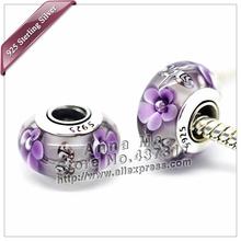 2pcs S925 sterling silver Violet Blue Murano Glass Beads Fit Europe pandora Charm Bracelets necklaces pendants