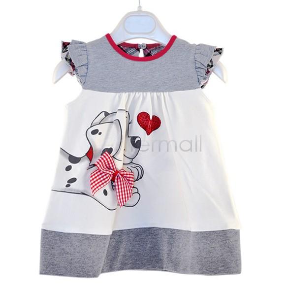 2014 New Baby Girl Fashion Dresses cute dog style Dress 1pcs/lot retail! Free shipping children's kids dress b11 SV000990(China (Mainland))