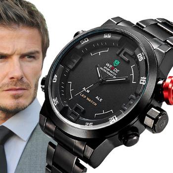 Оригинальный бренд Weide часы мужчины спорт полный нержавеющей стали часы из светодиодов цифровой аналоговый дисплей Relogio кварцевые Montre Homme