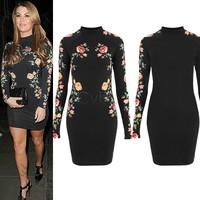 S-XXL 2014 Womens Celeb Black Floral Lace Long Sleeve Bodycon Ladies Party Evening Dress B003 SV001983
