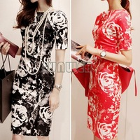 Plus size 2014 new fashion summer Women karen dress boat neck red/black knee length flower print dresses B003 SV004545