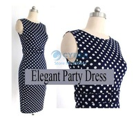 Wholesales Polka Dot Bodycon Pencil Dress Slimming Work Dresses Summer Tunic Style Knee-Length Casual Dress #3SV003000