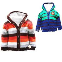 Hot spring boy sweater jacket autumn children girl sweater cardigan fur stripe knit Sweaters boys kids sweater coats 2-3yrs