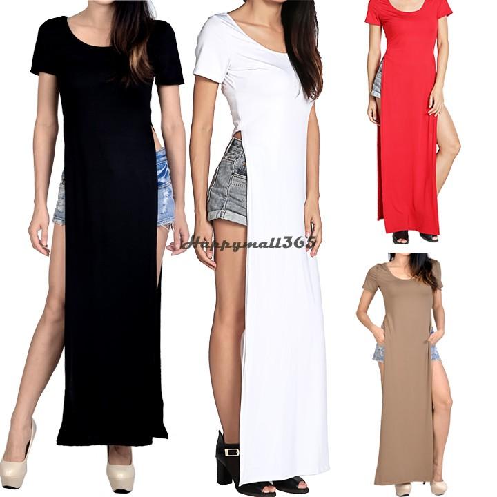 Qualidade New Maxi senhoras vestido alto tshirt ocasional patchwork partido sexy vestido Gypsy nadar desgaste longo Tee vestido B003 SV005973(China (Mainland))