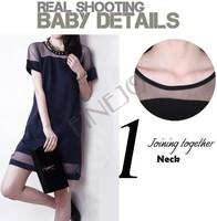 New Arrival Summer dress Sexy Fashion Mesh&Lace Chiffon short sleeve Dress Women Casual Black/Blue Wholesale B11 SV006344