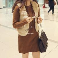 Hot Sale New 2014 Winter Fashion Waistcoat Women Solid Slim Short Faux Rabbit Fur Vest For Ladies Free Shipping B11 SV006193