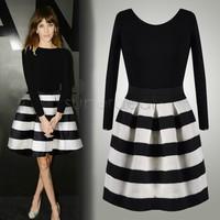 New Fall Designer Cute Dress Fashion Women Casual Black White Striped Three Quarter Length Sleeve Stripe Dress SV18 CB030341