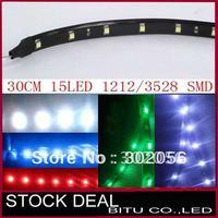 100pcs/lot 30cm 15 LED 3528/1210 SMD waterproof flexible led srip TL012