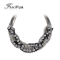 Charming Silver Color Alloy Chain Full Colorful Rhinestones Choker Necklace Fashion Jewelry 2014