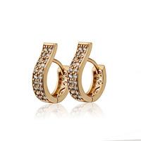 2014 Women's Earring New 18K Gold Plated CZ Crystal CC Hoop Earrings For Women Bijoux Brinco Fashion Free Shipping 28E18K-102