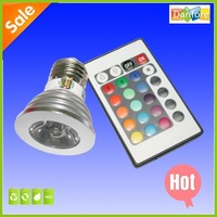 Free shipping! 10pcs/Lot 3W RGB LED Spotlight E27 Multi-Color LED Lighting With  IR Remote Controller