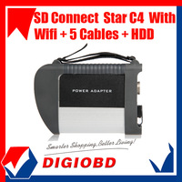 Free shipping MB Star Compact 4 with Super HDD multi-language SD Connect C4 new version SD Star C4 with stable Wifi Function
