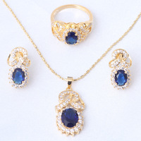 Delicate 18K Gold Plated Earring Necklace Ring Jewelry Set Amethyst Austrian Blue Crystal Ring Sz #8 #7 #9 JS431