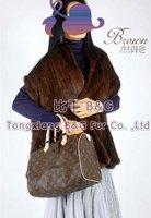 BG9042 Genuine Kintting Mink Fur Ladies  Winter Ladies Fashion Wide Stole OEM Wholesale Natural Mink Fur Shawl Scarves