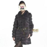 QD11807 Ladies' Natural Rabbit Fur Coat Jackets with Fox Collar Cute winter Women Fur Outerwear Coats Female Overcoats