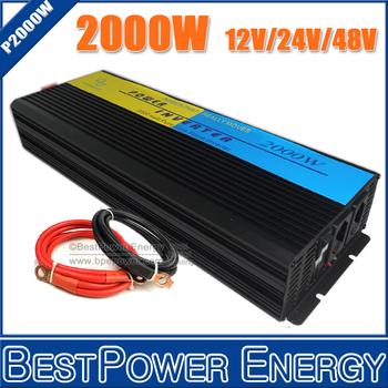High Efficiency 2000W Power Inverter, DC12V/24V/48V to AC110V/220V Pure Sine Wave Inverter for Off Grid Solar Wind Power System