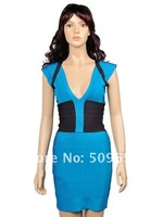 Free Shipping Hl Dress Hot Selling Ladie's Blue With Black Knee-Length Dress