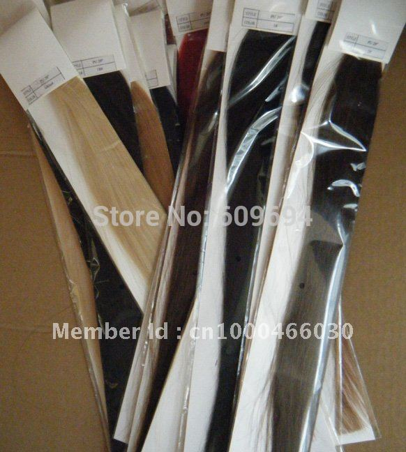 18inch - 24inch 100g/pack PU tape Glue Skin Weft Hair Extensions 100% Indian Human Remy Hair black brown blond 002(China (Mainland))