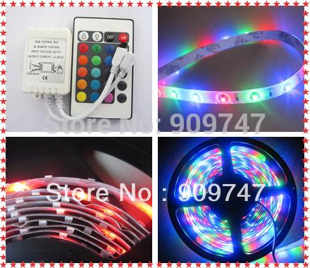 hot Free Shipping rgb 3528 led strip 300LED 5M RGB +24 key IR Remote,non-waterproof led strip(China (Mainland))