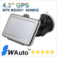 DHL Free New model Mutli Language Menu 4.3 inch GPS navigation FMT 4GB Flash 800MHZ CPU  Free Europe USA AU Russia  3D map