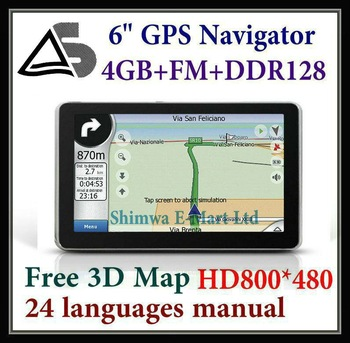 Wholesale! 6 inch gps,Car Gps Navigation,Built-in 4GB memory 128M RAM, Free multi countries Free maps