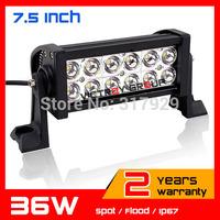 """7.5"""" 36W LED Work Light Bar For 12v 24v  Boat  Truck SUV Tractor ATV Offroad LED Fog Light Worklight External Light Save on 72w"""