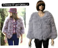 Free shipping YR-307 Ladies' apparel genuine feather handmake fur jacket ~Wholesale~retail~Customized