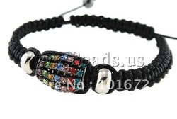 Shamballa Bracelet, wax cord & rhinestone brass & zinc alloy beads, nickel, lead & cadmium free, Sold per 7.5 Inch- Strand(China (Mainland))
